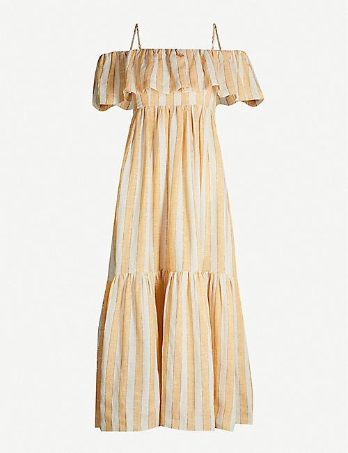 2c56dc4af THREE GRACES LONDON Ida cold-shoulder linen-blend dress