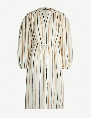 THREE GRACES LONDON Julienne striped cotton-blend dress