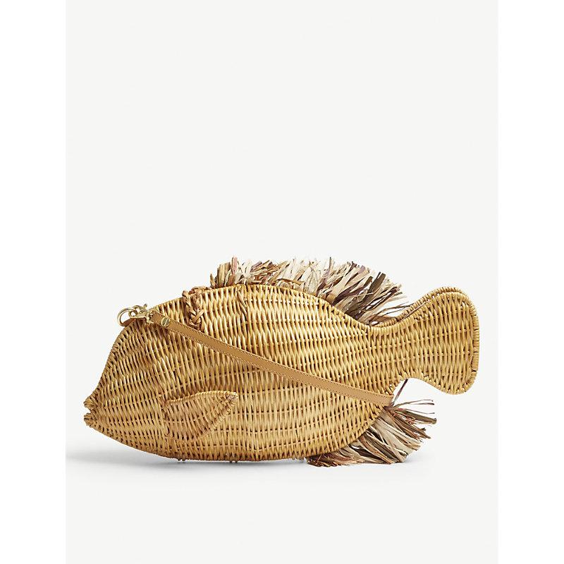 ARANAZ Brown Woven Fish Raffia And Straw Clutch Bag in Cream