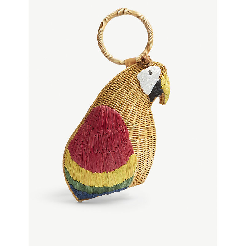 ARANAZ Brown And Red Woven Avis Parrot Clutch Bag in Multi 1