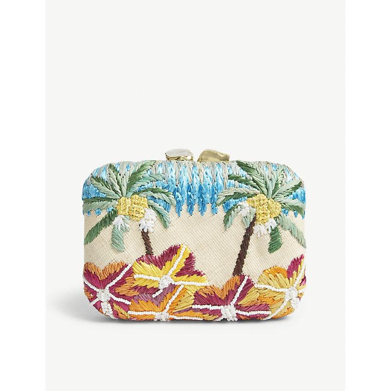ARANAZ Cream Floral Raffia Box Clutch Bag in Colourway 2 On Cream