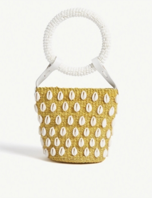ARANAZ Kaia woven shell mini bucket bag