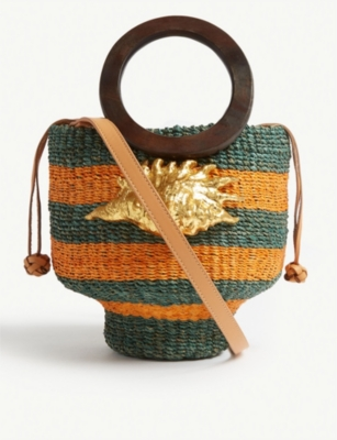 ARANAZ Kailei striped bucket bag