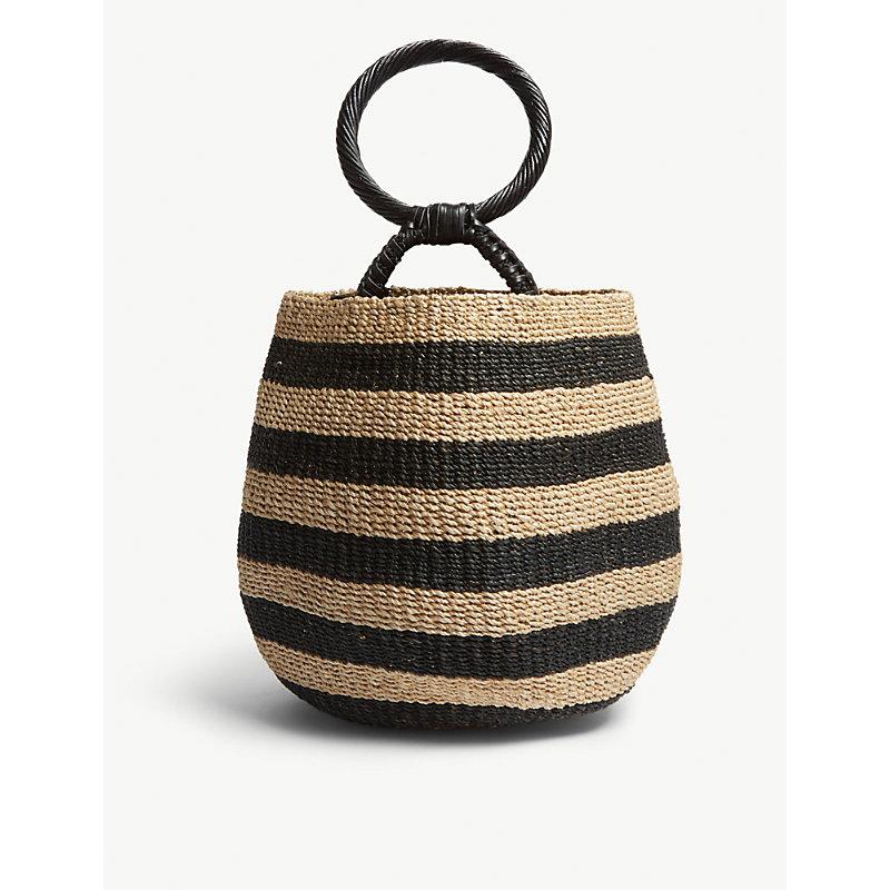 ARANAZ Belle Abaca Bucket Bag in Natural Black
