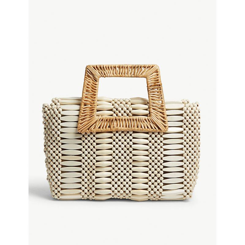 ARANAZ Cerise Raffia Handbag in Cream