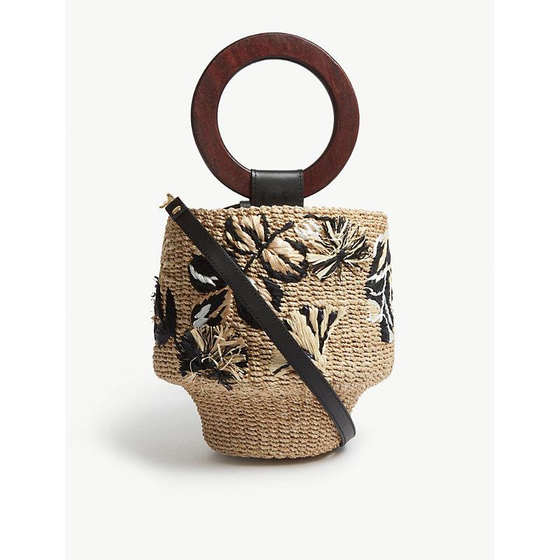 ARANAZ Maya Raffia Bucket Bag in Natural