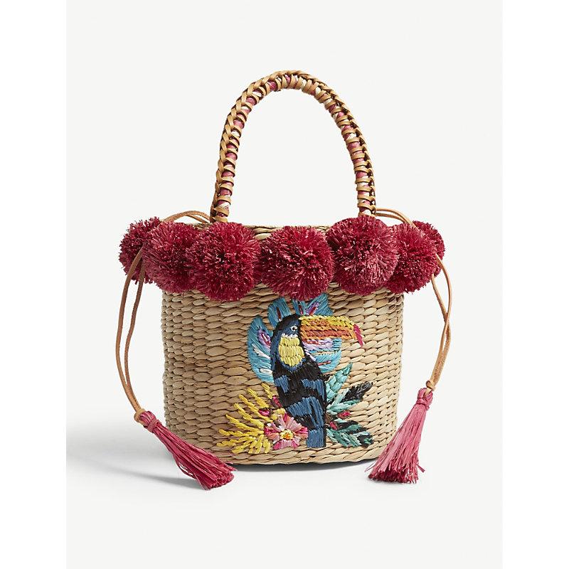 ARANAZ Magenta Red And Brown Woven Toco Fiesta Straw Bucket Bag in Magenta Pompom