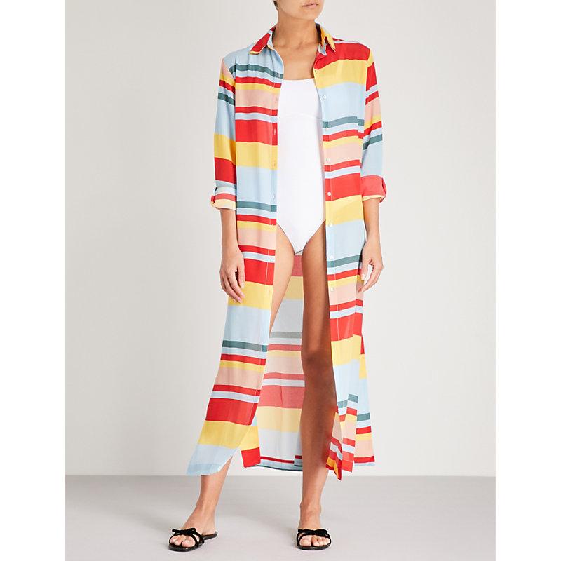 Asceno 条纹丝绉衬衫连衣裙