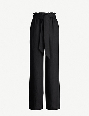ASCENO Ruffled-trim linen trousers