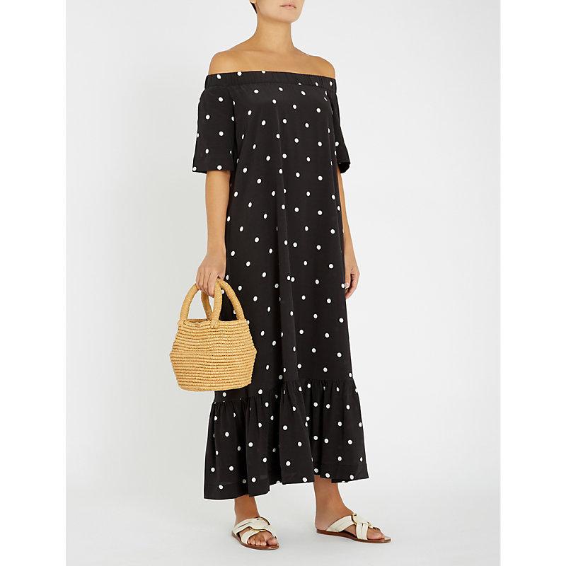 Asceno Dresses POLKA DOT OFF-THE-SHOULDER SILK DRESS