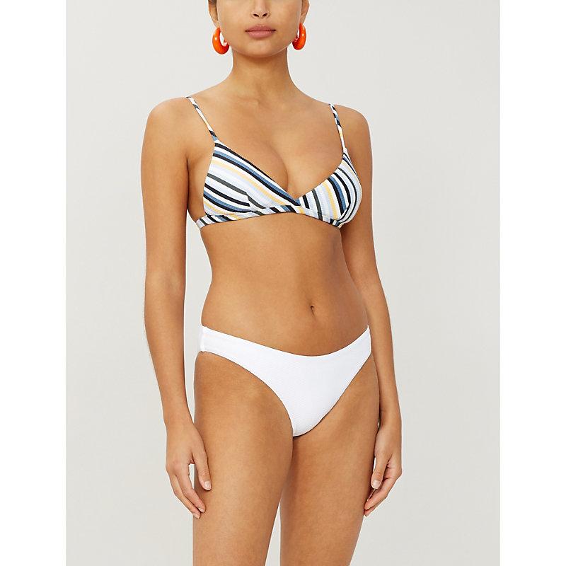 8d9783297a495 ASCENO | Striped Triangle Bikini Top | Goxip