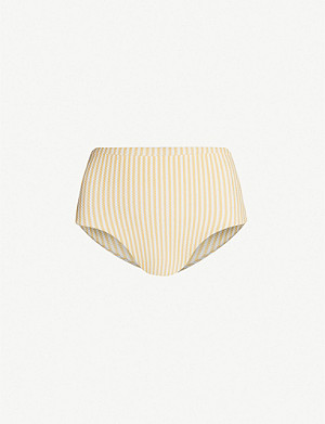 ASCENO High-rise striped bikini bottoms