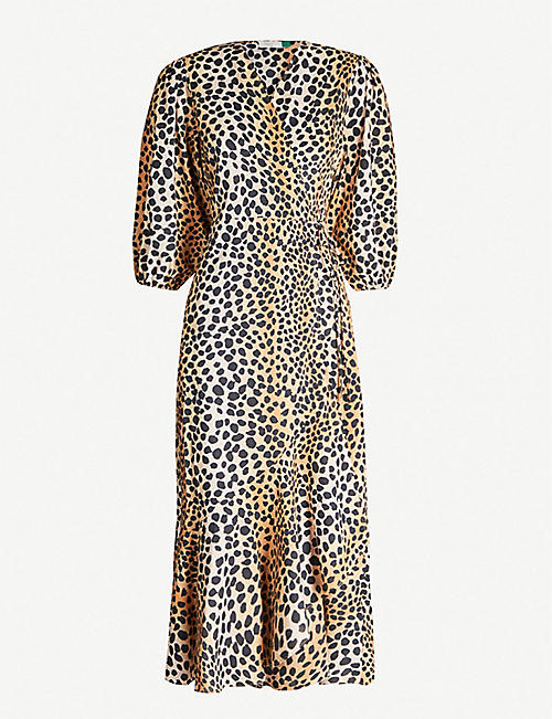 RIXO Noleen leopard-print wrap-front cotton midi dress