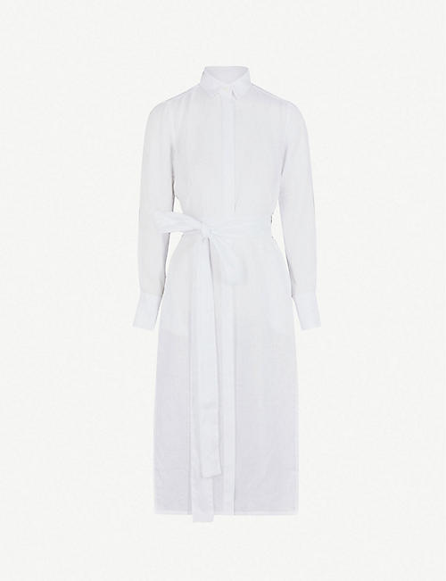 PDN LONDON Vanessa belted linen shirt dress