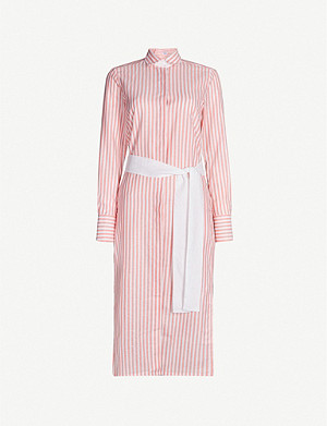 PDN LONDON Victoria striped belted cotton and linen-blend shirt dress