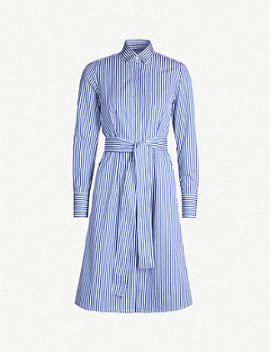 PDN LONDON Victoria striped belted cotton-poplin shirt dress