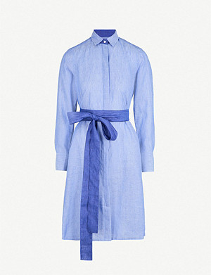 PDN LONDON Victoria belted linen shirt dress