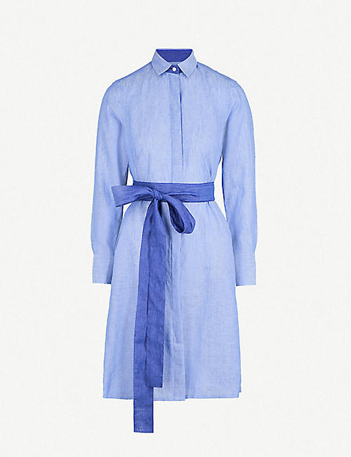PDN LONDON: Victoria belted linen shirt dress
