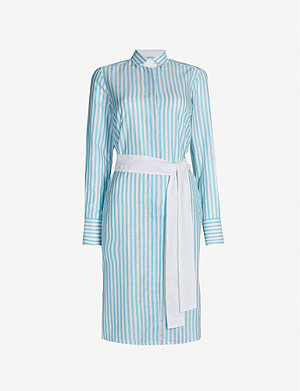 PDN LONDON Victoria striped belted cotton and linen-blend dress
