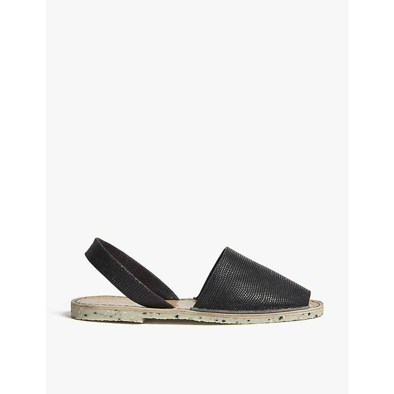 GOYA Lizard-Embossed Leather Sandals in Lizard Negro