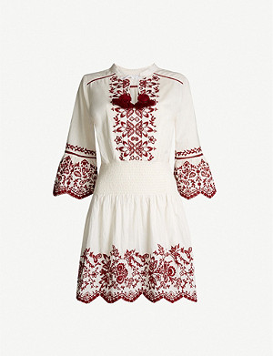 TIGERLILY Rubia floral-embroidered cotton and linen-blend dress