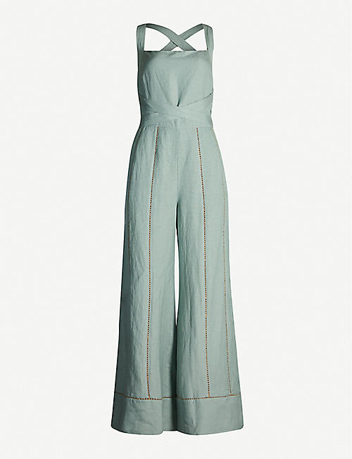 TIGERLILY Hana square-neck linen-blend wide-leg jumpsuit