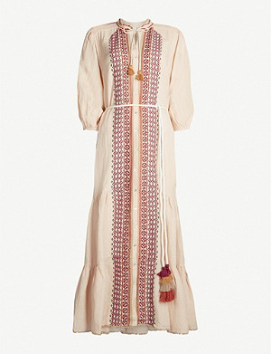 TIGERLILY Dellah embroidered linen-blend midi dress
