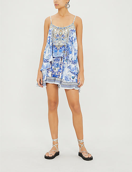 CAMILLA Painted Provincial silk-crepe playsuit