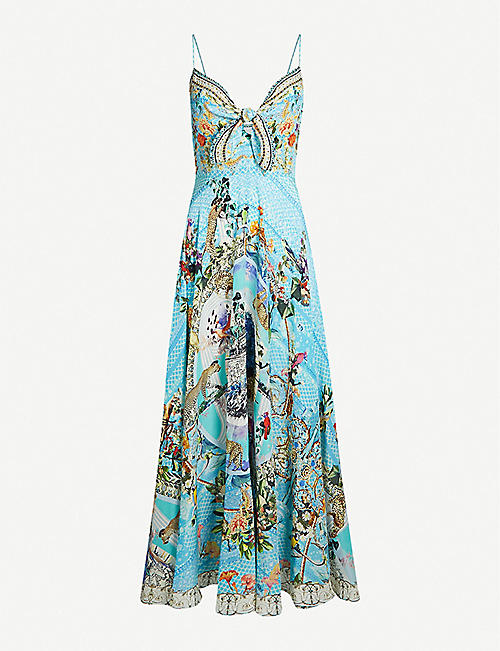 CAMILLA Girl From St Tropez tie-front silk-crepe maxi dress