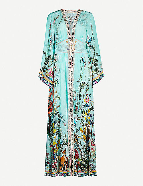 CAMILLA Millas Backyard crystal-embellished printed silk kimono dress