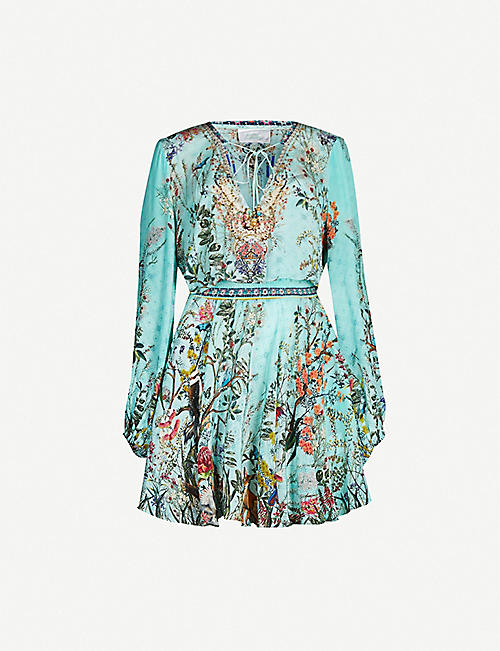 CAMILLA Millas Backyard crystal-embellished printed silk mini dress