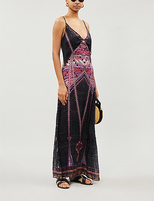 CAMILLA Mina Mina metallic graphic-print silk slip dress
