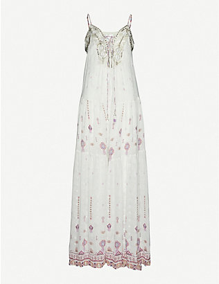 CAMILLA: Tanami Road embroidered silk maxi dress