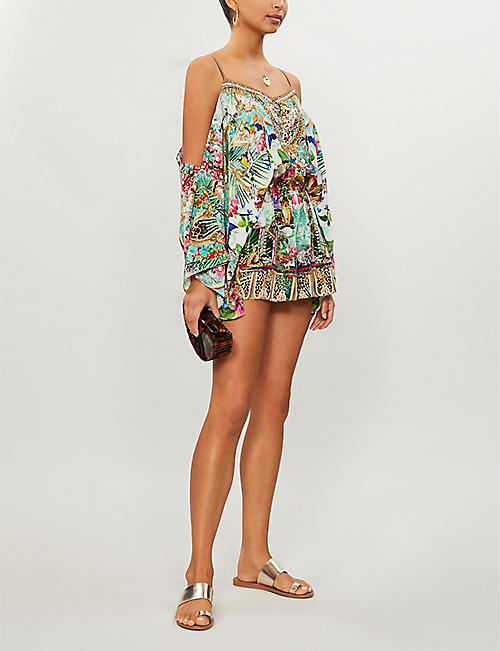 CAMILLA Champagne Coast dropped shoulder printed silk-crepe playsuit