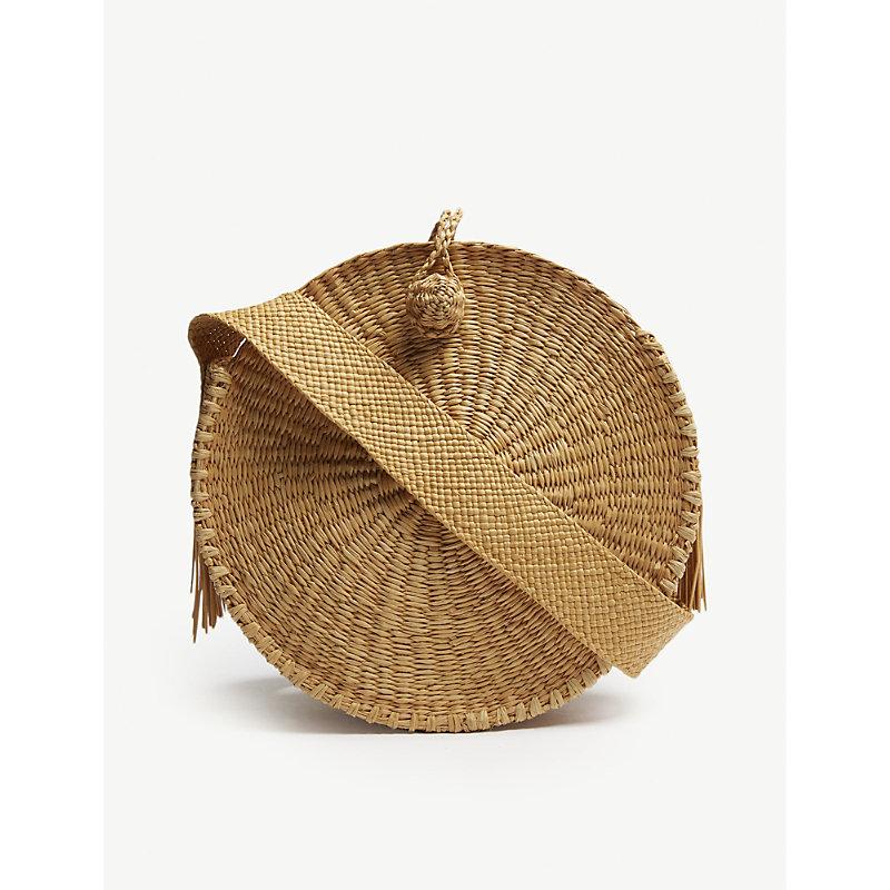 ARTESANO Brown Woven Pile Straw Shoulder Bag in Cinnamon