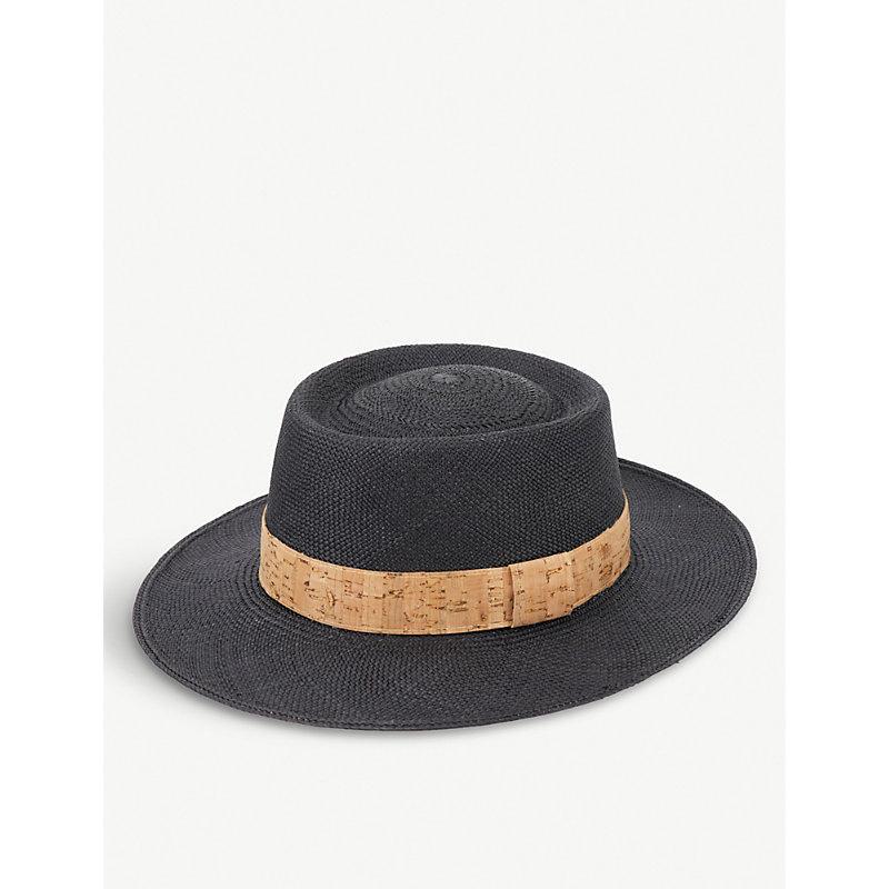 ARTESANO Cortica Straw Panama Hat in Black