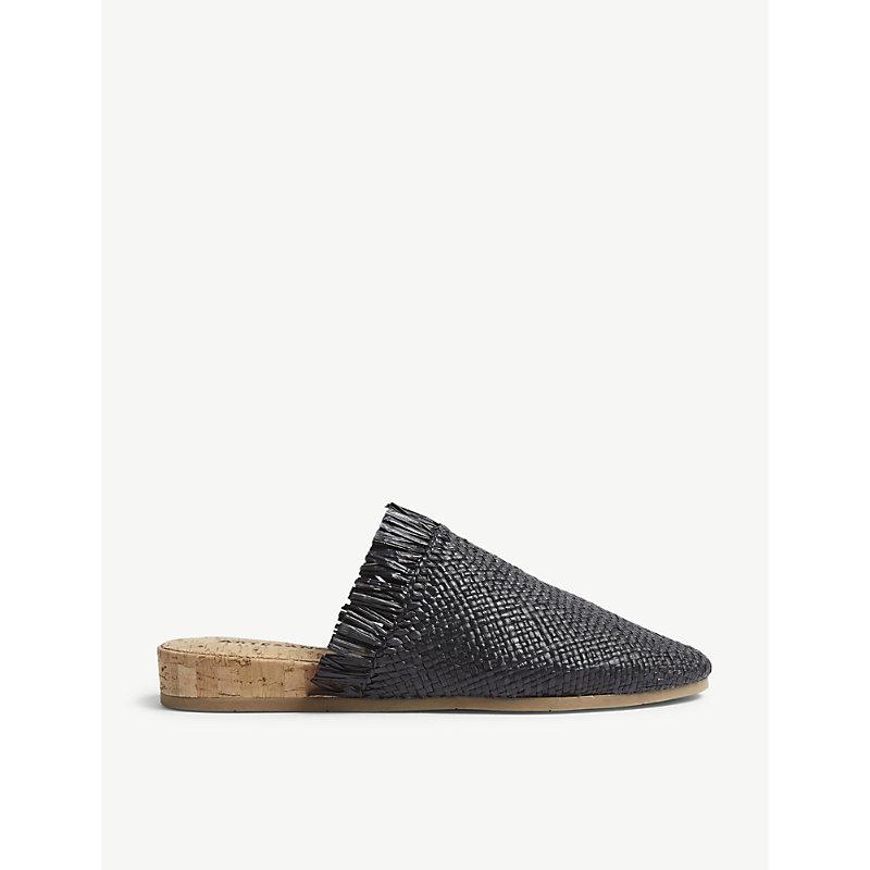 ARTESANO Porto Straw And Cork Sandals in Black