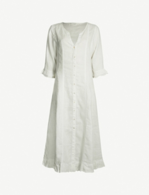 FELICIA Bay button-up linen midi kaftan
