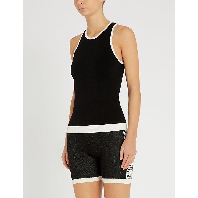 NAGNATA Racerback Stretch-Cotton Vest Top in Black Cream