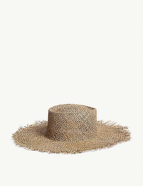bbbd6f54d8b43 LACK OF COLOR Sunnydip Fray seagrass boater hat
