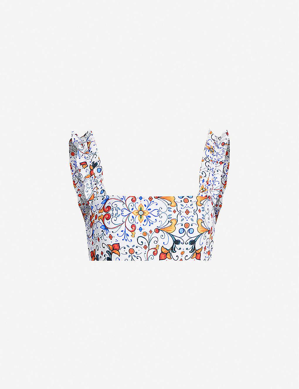 a67981ea19e767 Onia x WeWoreWhat Danielle rose-print bikini top - Delicate tile multi ...