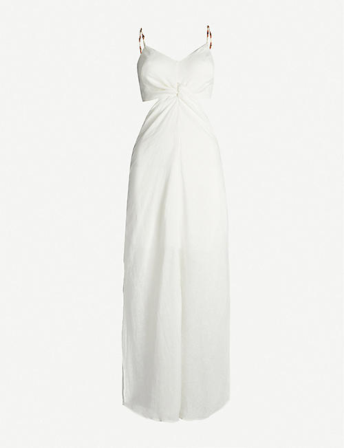 VIX Cut-out bead-embellished linen-blend maxi dress
