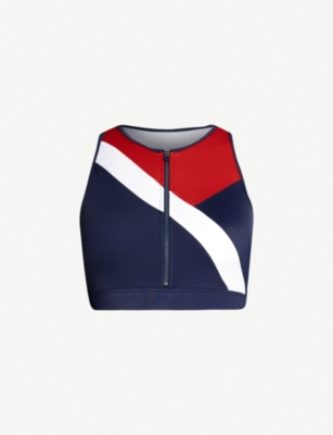 TOMMY HILFIGER Colour-blocked zip-up swim top