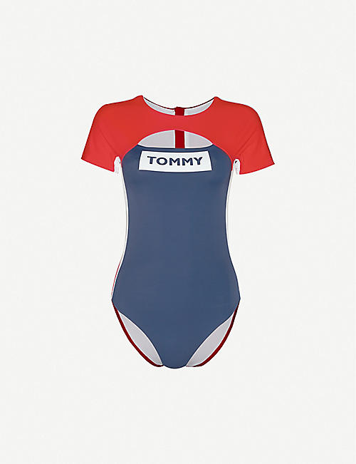 TOMMY HILFIGER Colour-block short-sleeved swimsuit