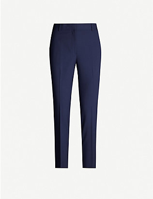 THEORY: Treeca cropped stretch-wool tapered trousers
