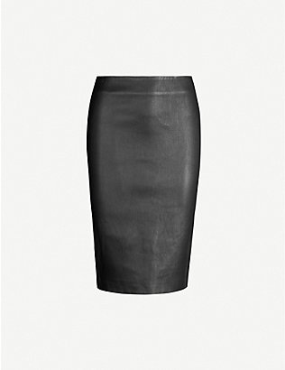 THEORY: High-waist leather pencil skirt