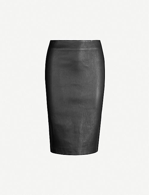 THEORY High-waist leather pencil skirt