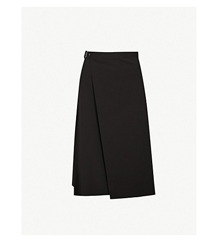 18b030a2aac THEORY - Buckle-detail crepe wrap skirt | Selfridges.com