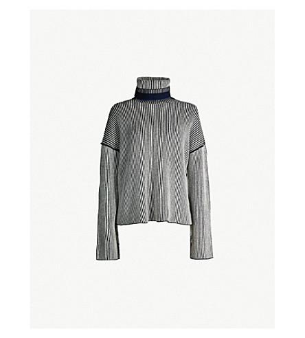 1fbd7b121e4 THEORY Oversized striped turtleneck cashmere jumper (Black+mix