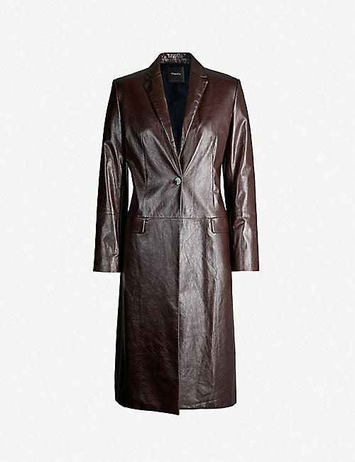 b186748da99fa1 THEORY Varnished single-breasted leather coat
